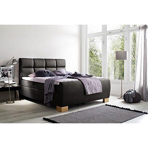 Boxspringbett Hotelbett Polsterbett inklusive Komfortschaum Topper Designer Bett von Möbel-BOXX (200 x 200 cm, Schwarz H3)