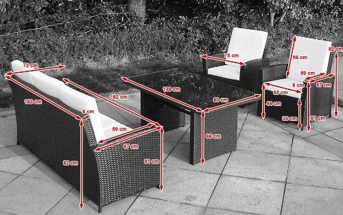 Baidani Gartenmöbel-Sets 10c00039.00001 Designer Rattan Lounge-Garnitur Comfort, 3-er-Sofa, Sessel, Auflagen, Rückenkissen, 1 Tisch mit Glasplatte, schwarz - 5