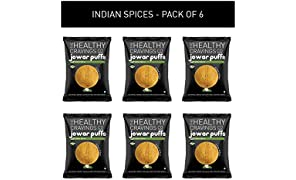The Healthy Cravings Co - Roasted Jowar Puffs - Indian Spices (Pack of 6, 25g each)