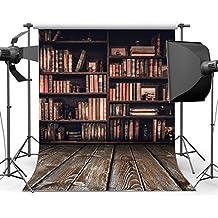 Sunny Star 5X7FT/150X210cm Bookshelf Backdrop Interior Study Room Vintage Bookcase Magic Books Grunge Stripes Wood Floor Shabby Ancient Library Vinyl Photography Background Photo Studio Props 10583