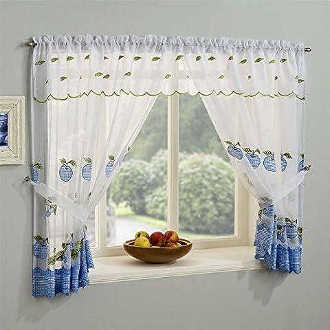 Winchester complet Ensemble de fenêtre de rideau, rideaux de cuisine Bordure Vichy, lumineux Apple Design, logement Top Rideaux prêts, Polyester, bleu, 98