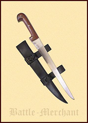 Einfaches Saxmesser mit Lederscheide lang - Handgeschmiedetes Sax - Ab 18 Jahren (Dolch-geschmiedet)