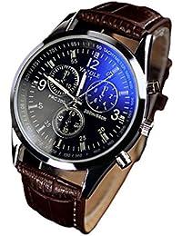 Moda de lujo de imitación de cuero para hombre Blue Ray Vidrio Relojes analógicos de cuarzo