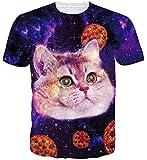 Goodstoworld 3D Katzen Pizza Print T Shirt Herren Damen Sommer Lustige Beiläufige Kurzarm Aufdruck T-Shirts Tee Top XXL