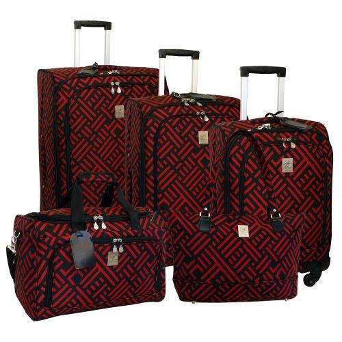 jenni-chan-signature-5-piece-luggage-set-black-red-one-size