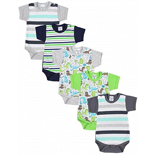 TupTam Baby Jungen Kurzarm Body Bunt mit Print 5er Pack, Farbe: Farbenmix 3, Größe: 80
