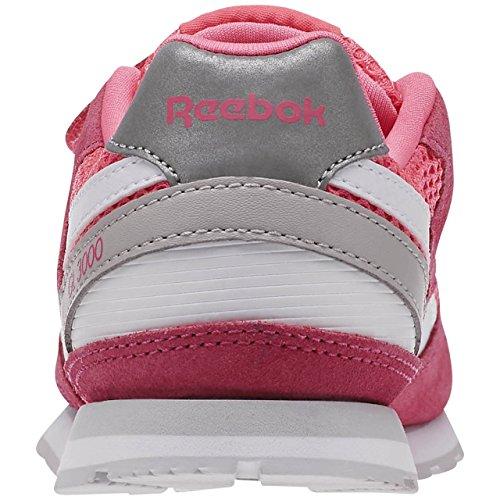 Reebok Gl 3000 2v, Baskets Basses Mixte Bébé Rose / blanc / gris (rose solaire / blanc / acier)