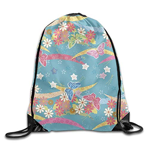 Fun Life Art Butterflies Black Friend Unisex Drawstring Shoulder Bag Backpack String Bags Size: 41 X 33 cm