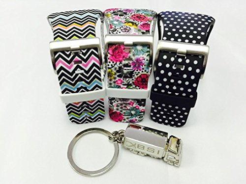 BSI Set 3 - 1pc Flowers Design 1pc Black with White Dots and 1pc Zigzag Rainbow Design Replacement Bands For Samsung Gear S Smart Watch Smartwatch Wireless + Free Silver Metal Truck Keychain with BSI(TM) LOGO