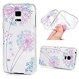 MAXFE.CO TPU Silikon Hülle für Samsung Galaxy S5 mini Handyhülle Schale Etui Protective Case Cover Rück mit Ultra slim Skin Volltonfarbe Design Skin Farbe Löwenzahn