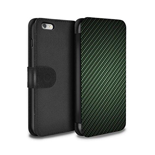 STUFF4 PU-Leder Hülle/Case/Tasche/Cover für Apple iPhone 6+/Plus 5.5 / Grün Muster / Kohlenstoff-Faser-Muster Kollektion (6 Plus Fall Kohlenstoff-faser Iphone)