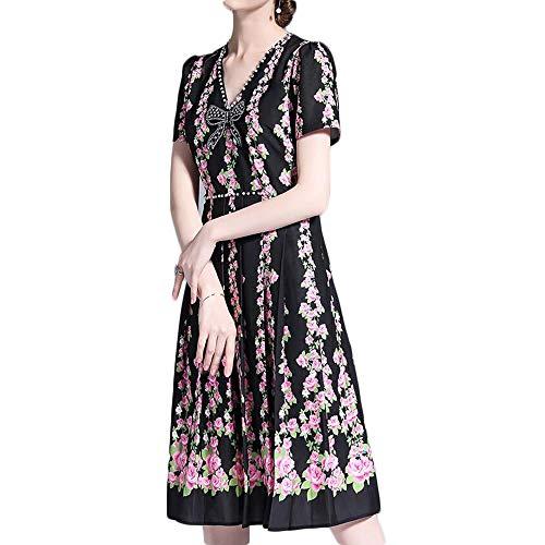 Bademode Short Sleeve V-Ausschnitt-Bogen-Perlen-Stitching Kontrast mit hohen Taille Kleid-Frauen Bikinis (Color : Black, Size : M) -