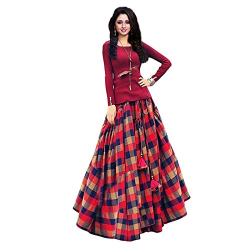 VidhiDev Red Color Checked Printed Satin Fabric Semi Stitched Lehenga