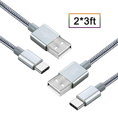 Type C Kabel [2Stk, 1m], BAMBUD Nylon USB-C auf USB-A Schnell Daten Sync & Ladekabel für Telefon & Tablets mit Type c Stecker wie Samsung Galaxy S8, OnePlus 2/3, Nexus 5X / 6P, Huawei P9 , Lumia 950 / 950XL, Nintendo Switch (Fragen Usb-wand-ladegerät-kabel)