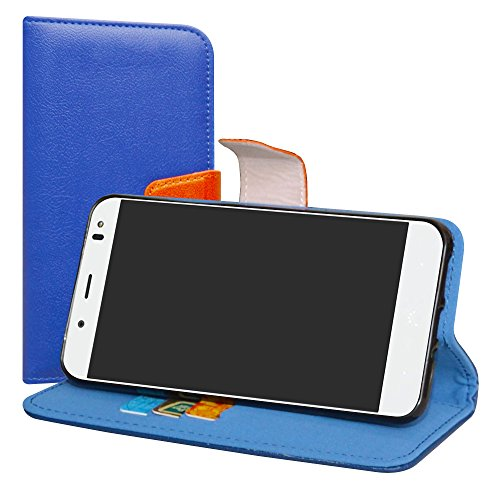 LiuShan BQ Aquaris VS Plus/Aquaris V Plus Hülle, Brieftasche Handyhülle Schutzhülle PU Leder mit Kartenfächer und Standfunktion für BQ Aquaris VS Plus/Aquaris V Plus (5,5 Zoll) Smartphone,Deep Blau