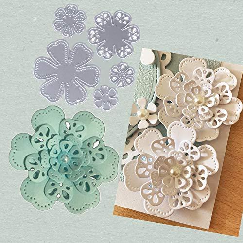 Ponnen 3D Blume Stanzbögen Stanzschablonen Scrapbooking Stanzformen Stanzmaschine für Scrapbooking Kartenbasteln Album Papier Dekor