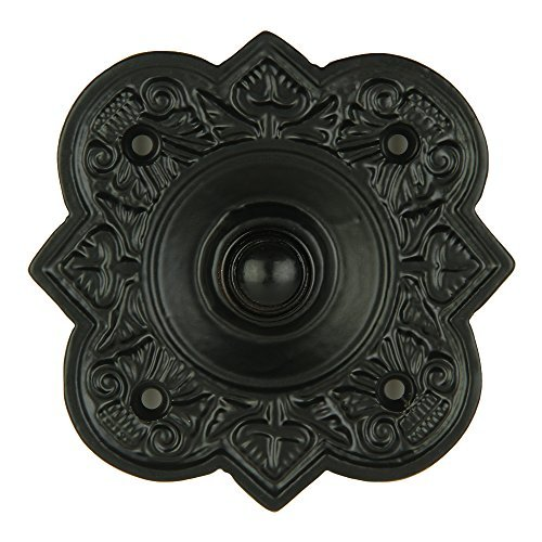 Wired Iron Doorbell Chime Push Button in Black Powder Coat Finish Vintage Decorative Door Bell with Easy Installation - Black Powder Coat Finish