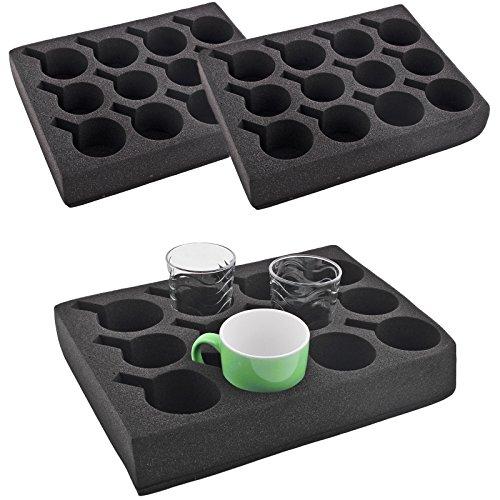 Preisvergleich Produktbild 2x Tassenhalter Glashalter 12 er schwarz Spezial Schaum 330 x 245 x 60mm