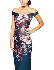 BYD Mujeres Vestidos Elegante sin Tirantes Ajustado Impresión Floral Bodycon Vestido De Cóctel