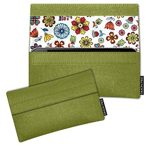 SIMON PIKE Apple iPhone 7 / 6 / 6S Filztasche Case Hülle 'NewYork' in elefantengrau 1, passgenau maßgefertigte Filz Schutzhülle aus echtem Natur Wollfilz, dünne Tasche im schlanken Slim Fit Design für gruen Filz (Muster 17)
