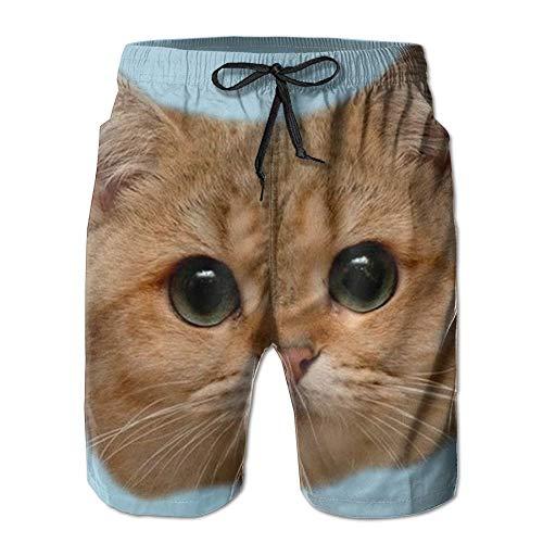 Nicegift Cat Mens Summer Beach Shorts Household Pants with Pockets L