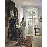 """La esposa del artista en una interior blanco, Carl holsøe, Papel artístico satinado de 255 g/m², Image size: 510mm x 402mm (20"""" x 15.8"""")"""
