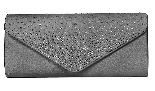 VINCENT PEREZ Damen Clutch Abendtasche Unterarmtasche Umhängetasche aus Satin mit Strassstein-Dekoration und abnehmbarer Kette (120 cm) 23,5 x 10 x 4,5 cm (B x H x T) (Grau) -