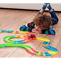 Munchkin land Magic Race Tracks-Flexible and Bendable Glow in Dark Race Twister Track Set Toy with LED Lights Racing Car…