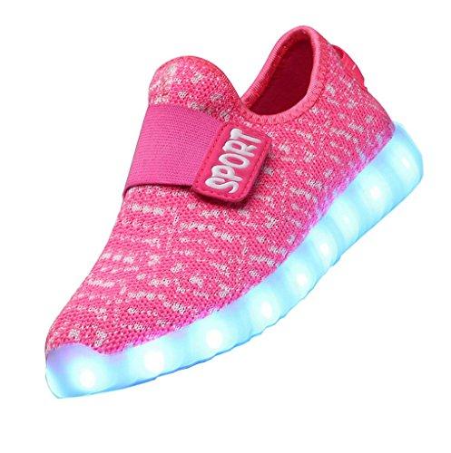 ACME LED Leuchtend Schuhe Sneaker Sportschuhe Turnschuhe mit USB Aufladen und 7 Farbe Farbwechsel für Kinder Jungen Mädchen Rose
