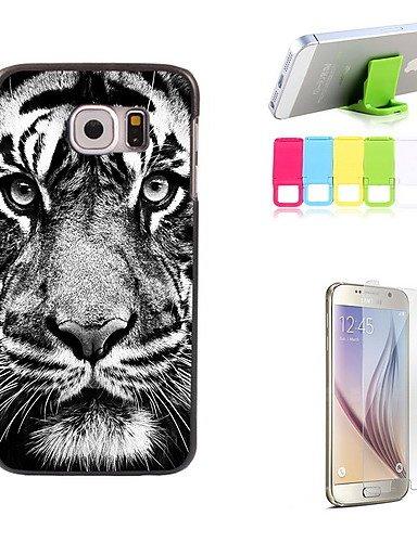 Starren Tiger (zzll151 der Tiger starren Sie entwerfen harte Fall mit Displayschutzfolie und Ständer Halter für Samsung-Galaxie-S6 KKKAOOL)