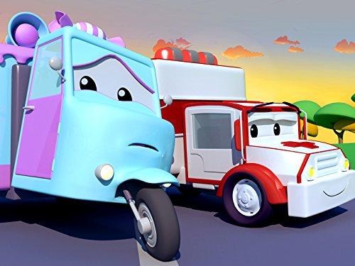 Matt das Polizeiauto bekommt eine Beule!/Carl der Supertruck hat Ohrenschmerzen!/Klein Tom dem Abschleppwagen ist sein Seil gerissen!/Carrie das Süßigkeitenauto hat einen Splitter im Reifen!