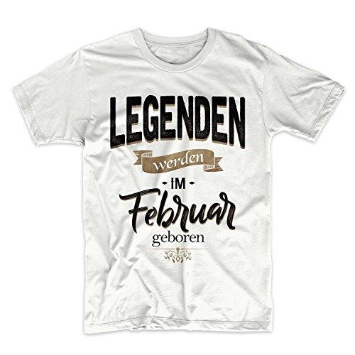 Legenden Werden Im Februar Geboren Geburtstag Geschenk Herren T-Shirt Weiß Medium (Crewneck Black Pullover Wool)