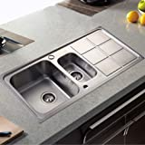 Costway Double Kitchen Sink 1.5 Bowl Stainless Steel W/Complete Plumbing Kit and Wastes