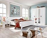 lifestyle4living Schlafzimmer, Schlafzimmermöbel, Komplettset, Bett, Schrank, Kleiderschrank, Drehtürenschrank, 2 Nachtschränke, 180 x 200 cm, weiß, alpinweiß