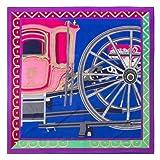 AHUIOPL Luxury Brand 100% Seide Frauen Geometrische Wagenräder Muster Silk Schals & Wraps Weibliche Foulard Großen Halstuch, Blau