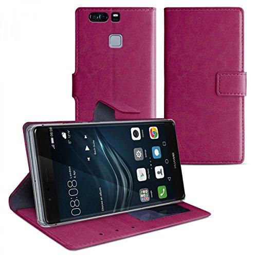 eFabrik Schutztasche für Huawei P9 PLUS Hülle lila Smartphone Case Tasche mit Aufsteller und Innenfächer Handy Zubehör Leder-Optik