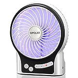 OPOLAR Wiederaufladbare Desktop Personal Fan mit LG 2200mAh Akku, persönliche Kühlung für Outdoor Wandern, Camping mit internem Licht und Side Light