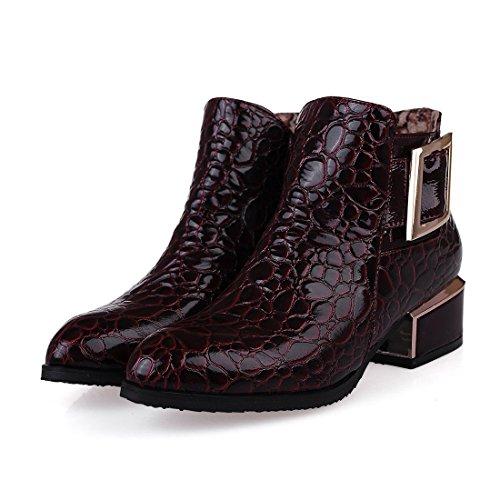 UH Femmes Chaussures Vernis Bottines avec Bloc de Cheville avec Boucle Bout Pointu Elegantes et Sexy Bordeaux