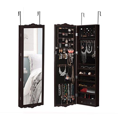 LANGRIA Hängend Schmuckschrank Spiegelschrank Türmontage/Wandmontage mit 2 Schubladen und 3 Höhenverstellbarkeit (36,7 x 9 x 121,5 cm, braun)