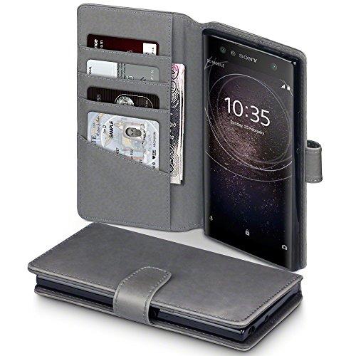 Terrapin, Kompatibel mit Sony Xperia XA2 Ultra Hülle, [ECHT LEDER] Brieftasche Case Tasche mit Standfunktion Kartenfächer und Bargeld - Grau