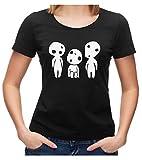 Kodama Baumgeist Geist Fan T-Shirt Fanshirt Japan No-Face Princess, S, Ladies schwarz