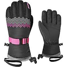 Racer Aurore 6 - Guantes de esquí para niña, color negro / rosa, tamaño 10 años