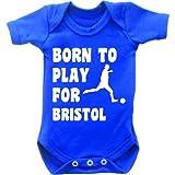Born To Play Football pour Bristol Combinaison Body bébé manches courtes pour femme Motif Grow en bleu royal et blanc - Bleu - 0-3 mois