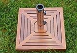 Nexos Schirmständer Sonnenschirmständer Granit eckig 46,5x46,5cm Steindicke 6cm ca. 25kg Edelstahlrohr Holzverkleidung grau braun