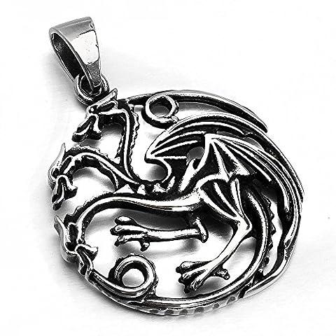 mendino Bijoux Hommes–Collier avec pendentif Femme–3Tête Dragon Targaryen Game of