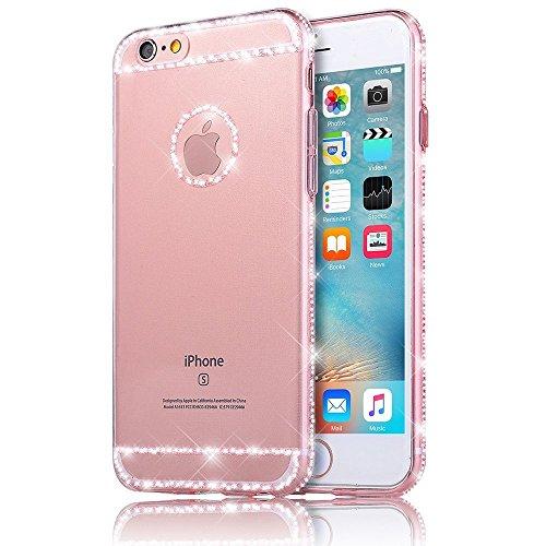 JAWSEU iPhone 6/6S Diamant Tpu Hülle,Luxus Rose Gold Strass Rahmen Glitzer Weiche Silikon Soft Gel Ultra Dünne Perfekter Schutz Helle Glänzende Strass Tpu Schale Zurück Schutzhülle Tasche Case Cover f Pink