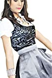 Bavarian Clothes Dirndl Midi Trachtenkleid Kleid 3 TLG mit Dirndlbluse Dirndlschürze geblümt Gr: 34 grau schwarz Wiesn Oktoberfest
