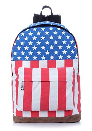 USA flagge Schulrucksack Leinwand Teenager Vintage Rucksack Casual Daypacks für Outdoor Universität Sports USA /UK Union Jack Flag amerikanische Canvas USA Stars and Stripes (Herren-usa-amerikanische Flagge)