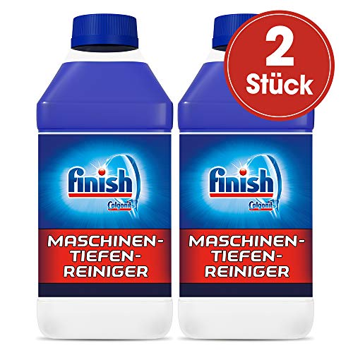 Finish Maschinentiefenreiniger - Flüssiger Maschinenreiniger gegen Kalk und Fett für eine tiefengereinigte Spülmaschine - Sparpack mit 2 x 250 ml Maschinenpfleger