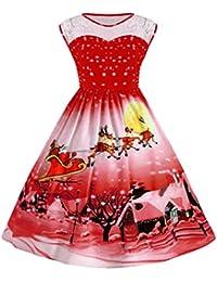 iBaste Vestidos Mujer Empalme Encaje Dress Retro 50s Hepburn Estilo Vestido con Vuelo Estampado Gato y
